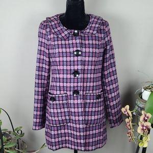 KENSIE GIRL Junior Youth Coat Purple Plaid Wool